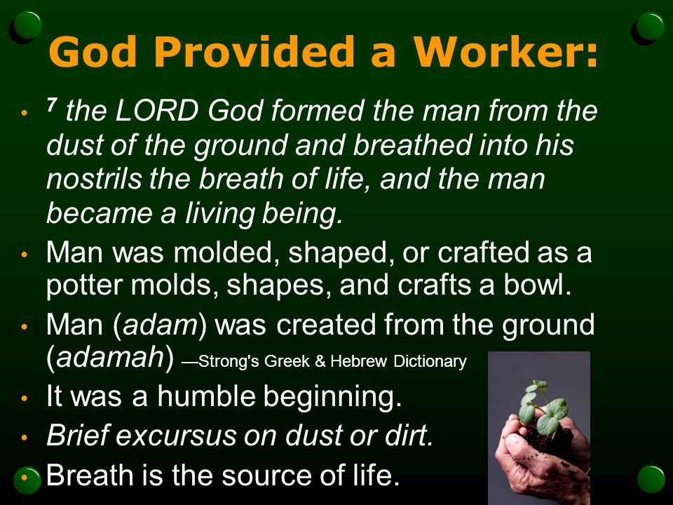 God Provided a Worker: 7 the LORD God formed the man from the dust of the ground and breathed into his nostrils the breath of life, and the man became