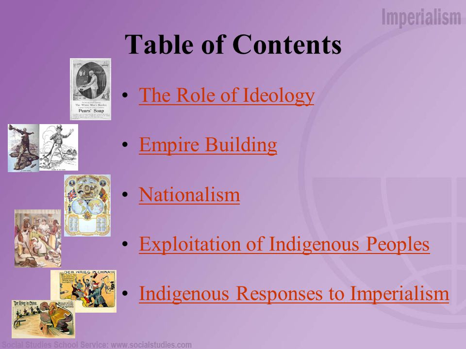 Table of Contents The Role of Ideology Empire Building Nationalism Exploitation of Indigenous Peoples Indigenous Responses to Imperialism