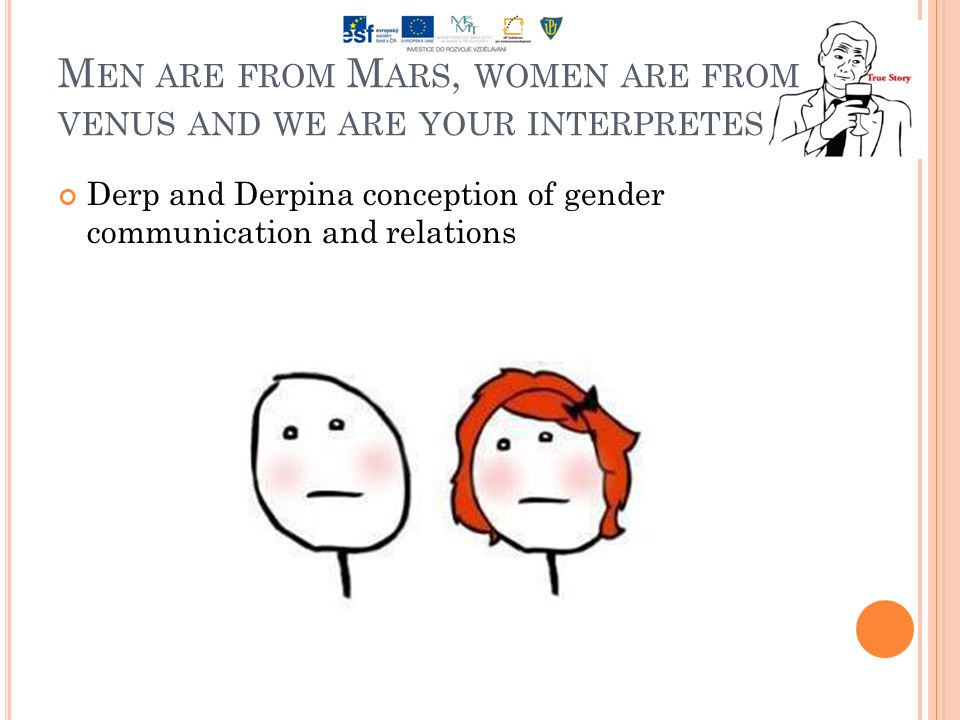 M EN ARE FROM M ARS, WOMEN ARE FROM VENUS AND WE ARE YOUR INTERPRETES Derp and Derpina conception of gender communication and relations
