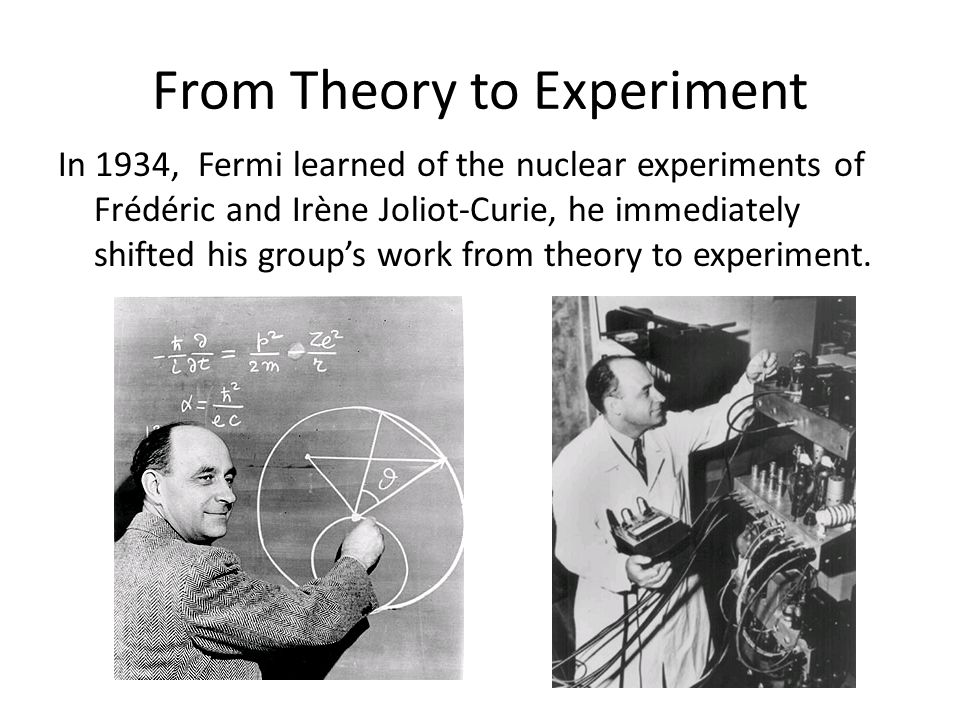 From Theory to Experiment In 1934, Fermi learned of the nuclear experiments of Frédéric and Irène Joliot-Curie, he immediately shifted his groups work