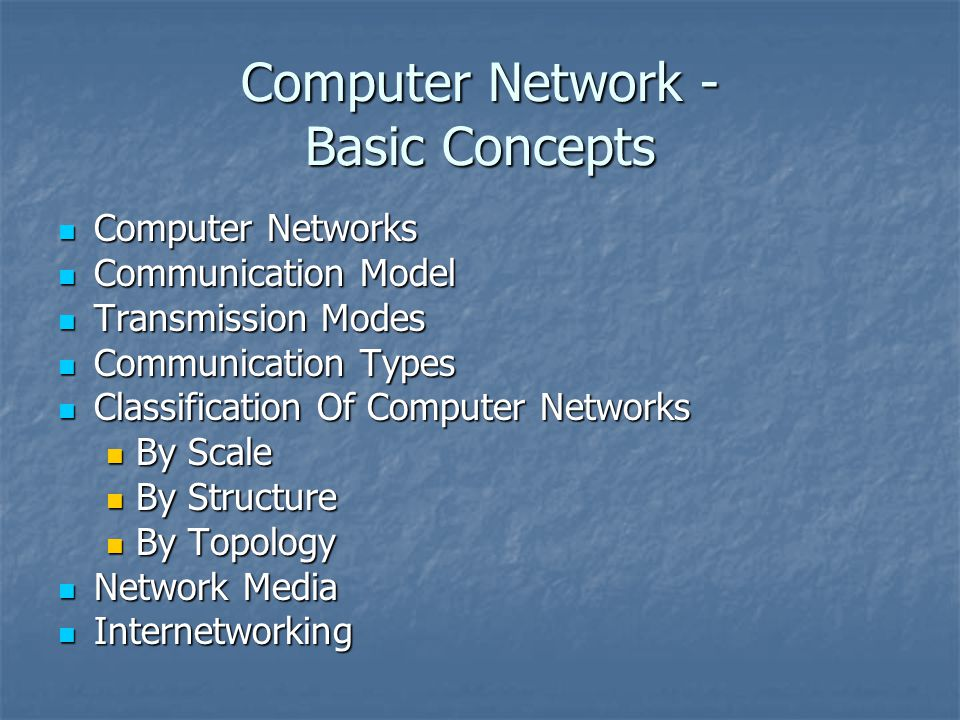 Computer Network - Basic Concepts Computer Networks Computer Networks Communication Model Communication Model Transmission Modes Transmission Modes Communication Types Communication Types Classification Of Computer Networks Classification Of Computer Networks By Scale By Scale By Structure By Structure By Topology By Topology Network Media Network Media Internetworking Internetworking