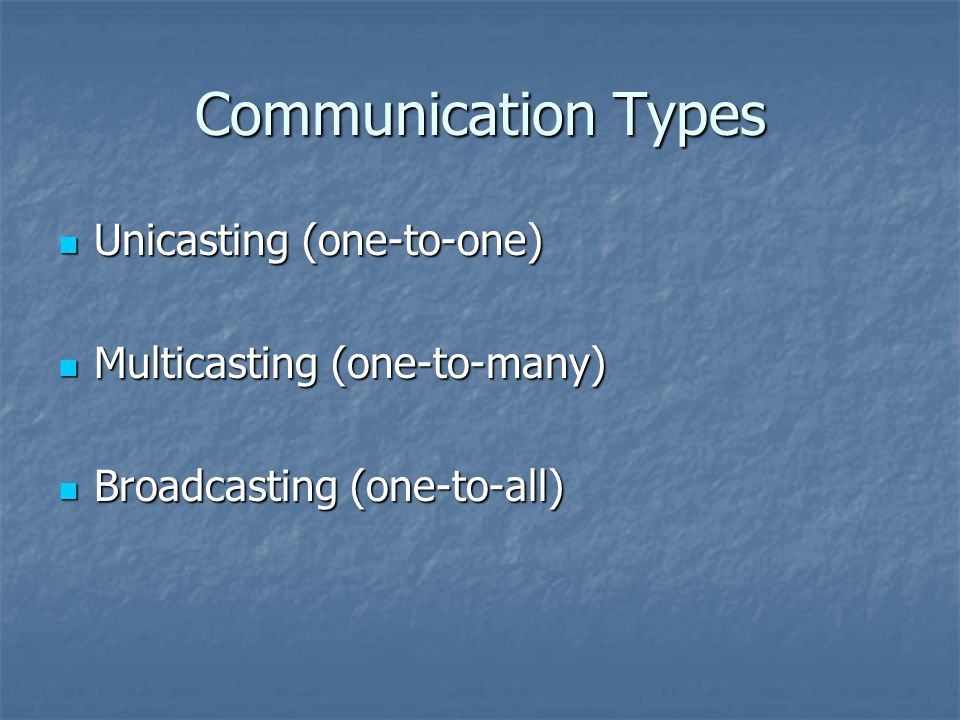 Communication Types Unicasting (one-to-one) Unicasting (one-to-one) Multicasting (one-to-many) Multicasting (one-to-many) Broadcasting (one-to-all) Broadcasting (one-to-all)