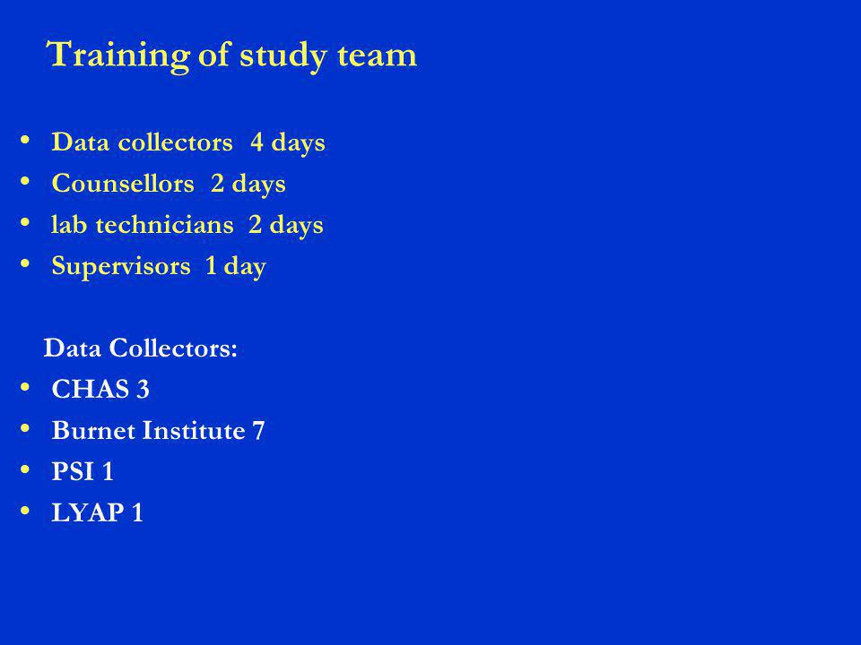 Training of study team Data collectors 4 days Counsellors 2 days lab technicians 2 days Supervisors 1 day Data Collectors: CHAS 3 Burnet Institute 7 PSI 1 LYAP 1
