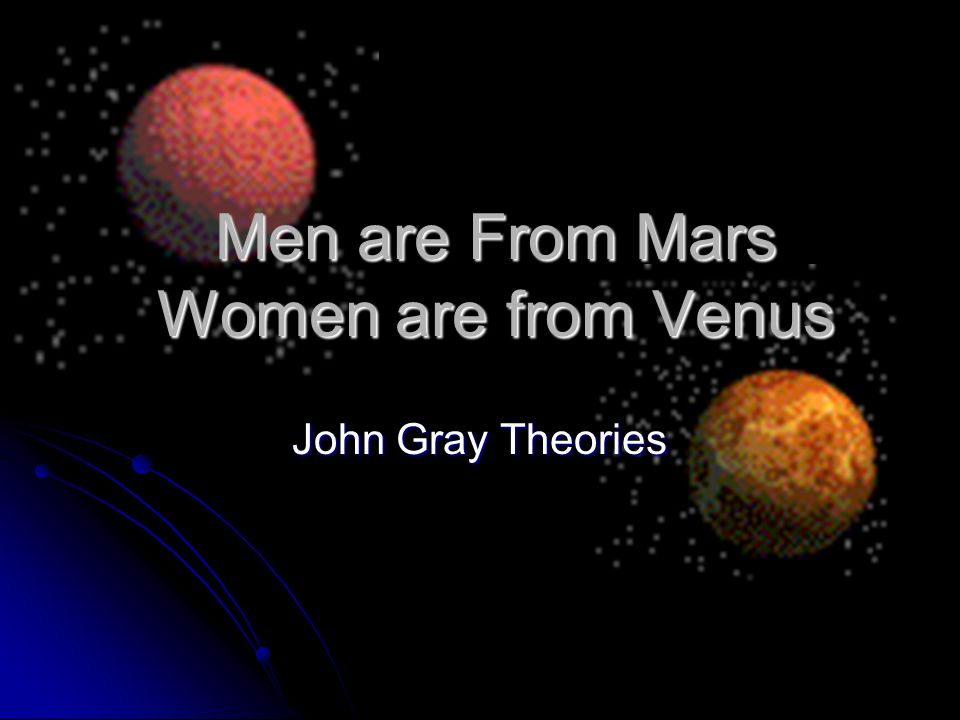 Men are From Mars Women are from Venus John Gray Theories