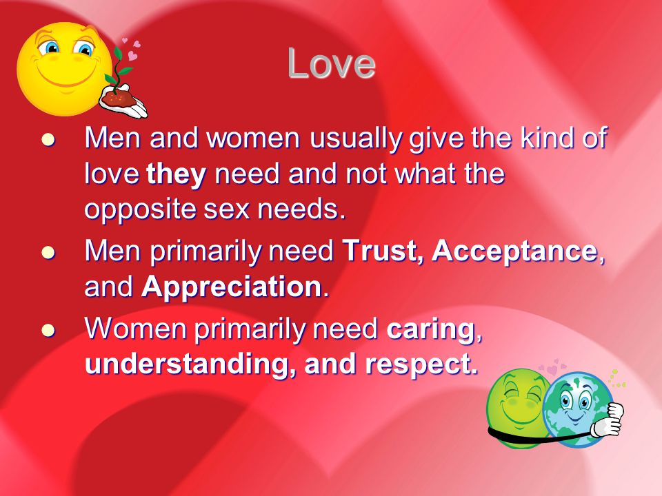 Love Men and women usually give the kind of love they need and not what the opposite sex needs.