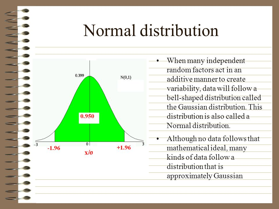 Normal distribution When many independent random factors act in an additive manner to create variability, data will follow a bell-shaped distribution called the Gaussian distribution.