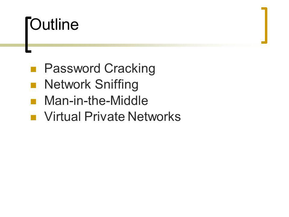 Outline Password Cracking Network Sniffing Man-in-the-Middle Virtual Private Networks