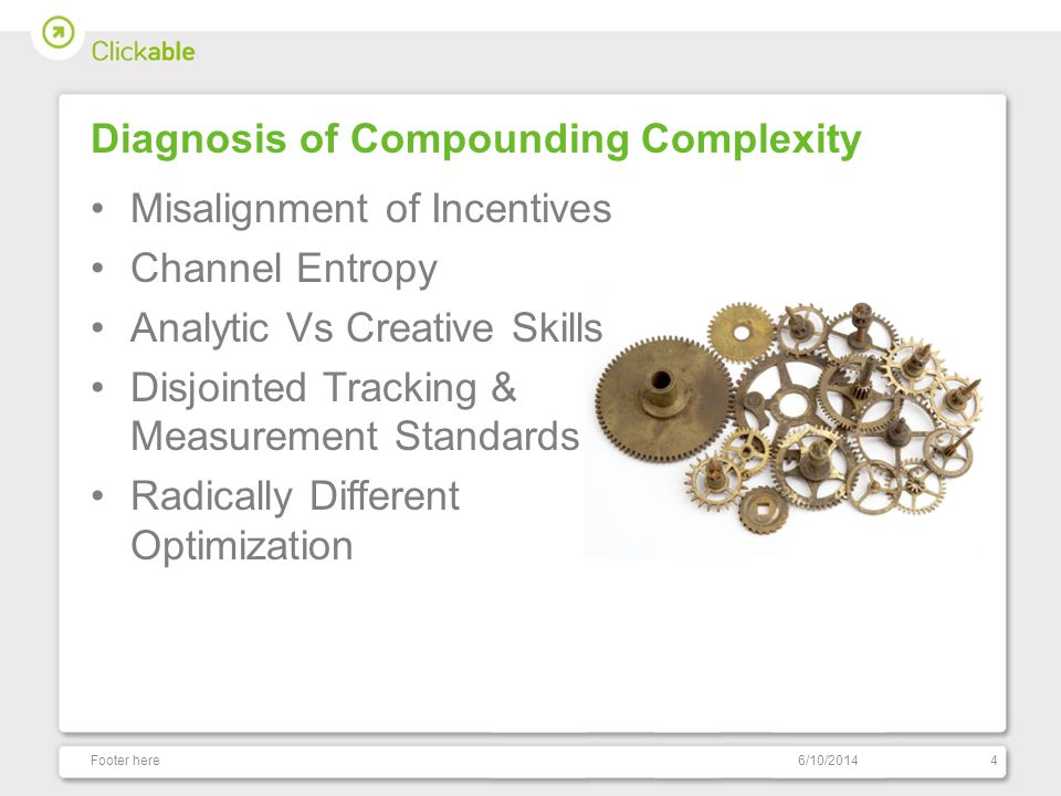 Diagnosis of Compounding Complexity Misalignment of Incentives Channel Entropy Analytic Vs Creative Skills Disjointed Tracking & Measurement Standards Radically Different Optimization 6/10/2014Footer here4