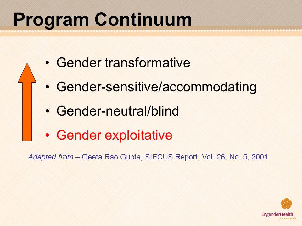Program Continuum Gender transformative Gender-sensitive/accommodating Gender-neutral/blind Gender exploitative Adapted from – Geeta Rao Gupta, SIECUS
