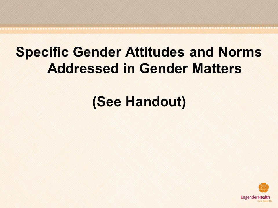 Specific Gender Attitudes and Norms Addressed in Gender Matters (See Handout)