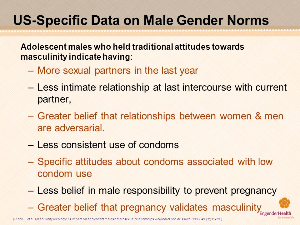 US-Specific Data on Male Gender Norms Adolescent males who held traditional attitudes towards masculinity indicate having: –More sexual partners in th