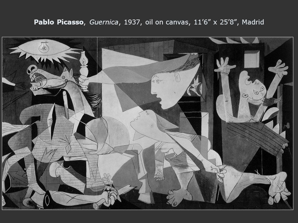 Pablo Picasso, Guernica, 1937, oil on canvas, 116 x 258, Madrid