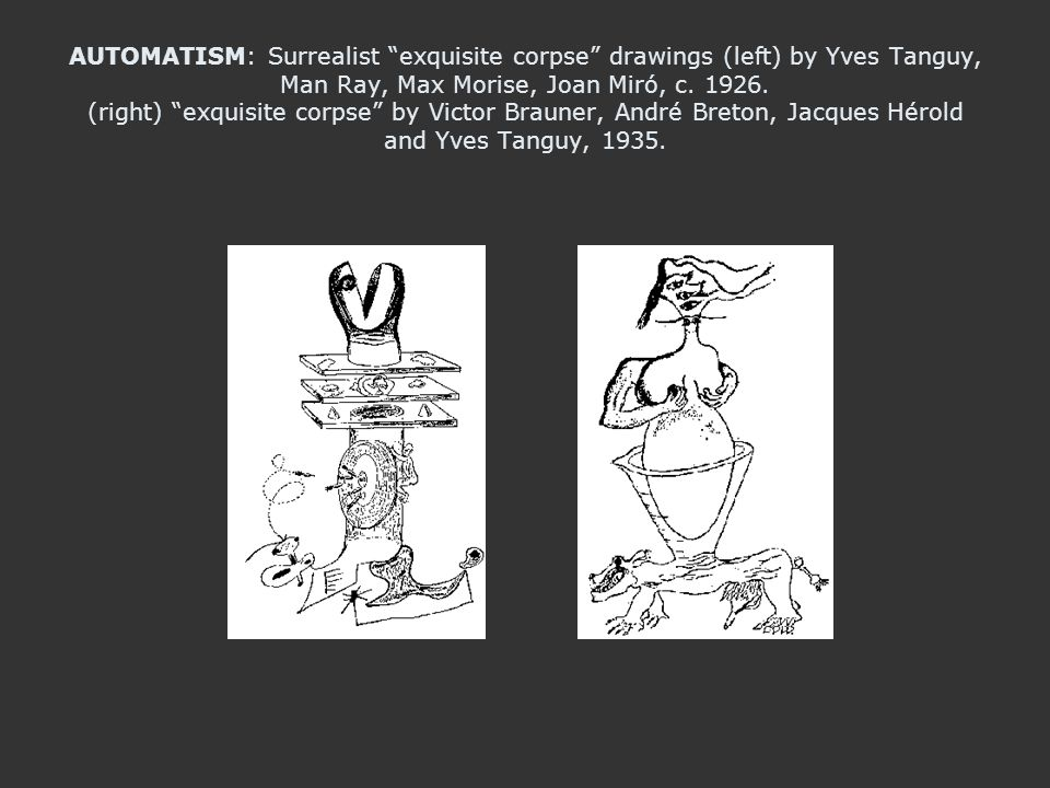 AUTOMATISM: Surrealist exquisite corpse drawings (left) by Yves Tanguy, Man Ray, Max Morise, Joan Miró, c. 1926. (right) exquisite corpse by Victor Br