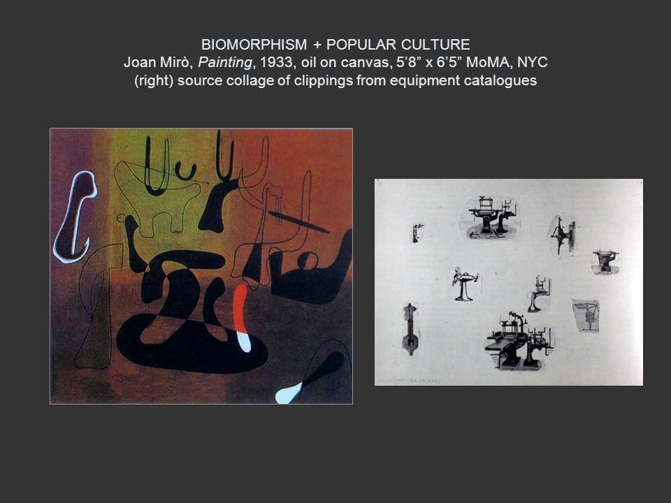 BIOMORPHISM + POPULAR CULTURE Joan Mirò, Painting, 1933, oil on canvas, 58 x 65 MoMA, NYC (right) source collage of clippings from equipment catalogue
