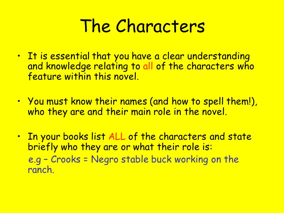 The Characters It is essential that you have a clear understanding and knowledge relating to all of the characters who feature within this novel.