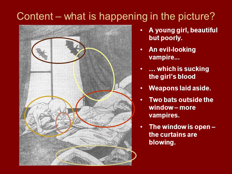 Content – what is happening in the picture.A young girl, beautiful but poorly.