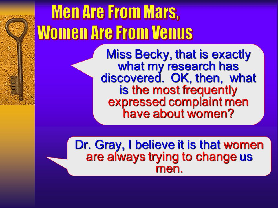 OK, you psychology students. What is the most frequently expressed complaint that women have about men? Dr. Gray, thats an easy one: men dont listen.