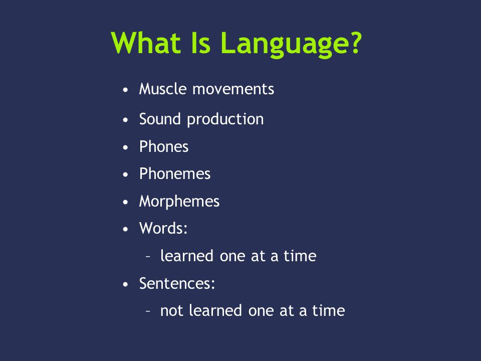 What Is Language? Sound production Phones Phonemes Morphemes Words: –learned one at a time Sentences: –not learned one at a time Muscle movements