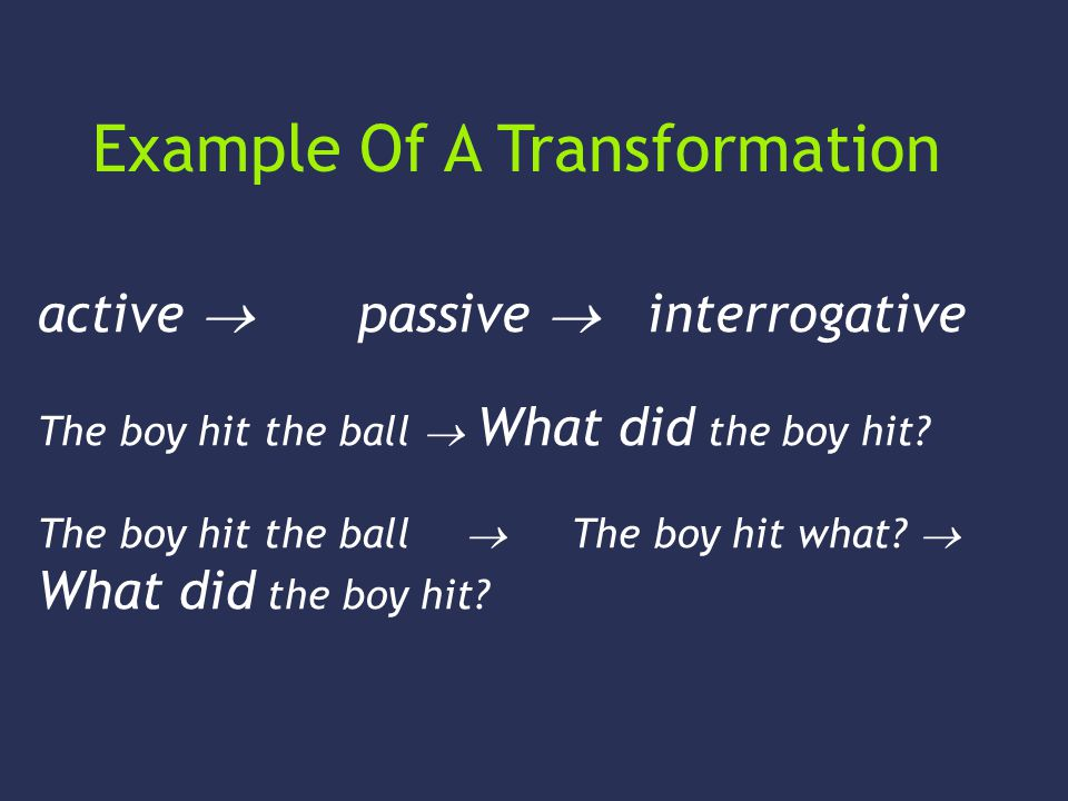 active passive interrogative The boy hit the ball What did the boy hit? The boy hit the ball The boy hit what? What did the boy hit? Example Of A Tran