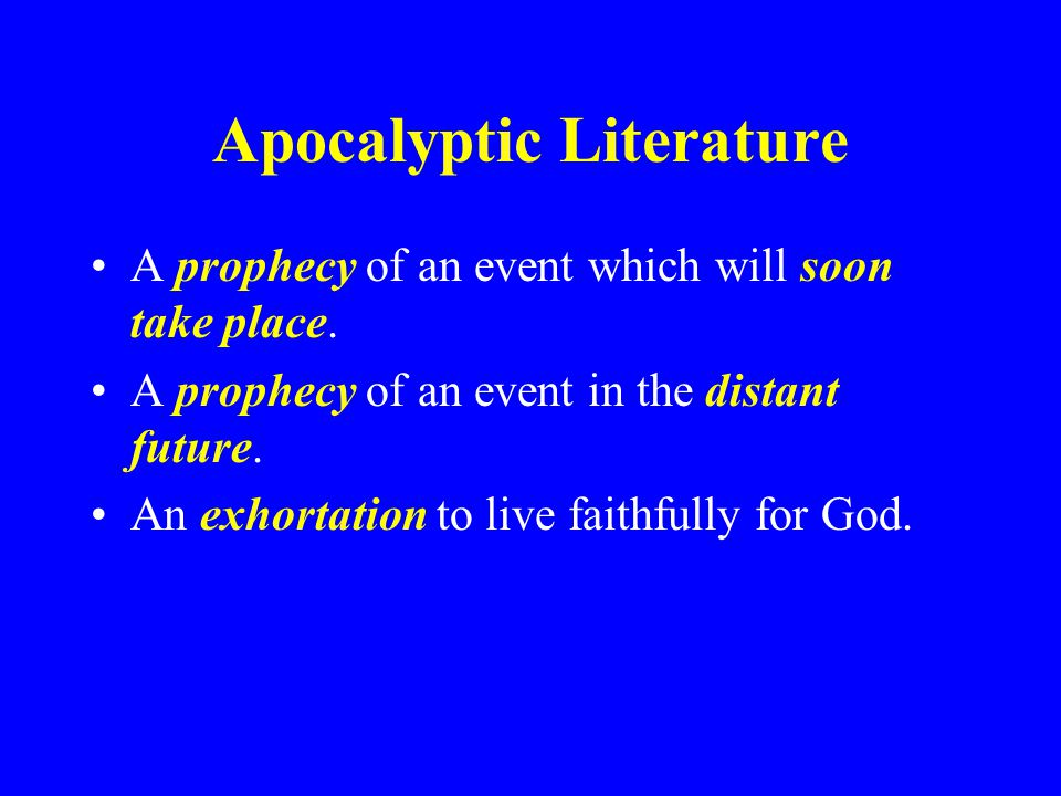 Near and Far Prophecies Some Ezekiel -- Restoration of Israel and Future Temple Daniel -- Chiasmus of Nebuchadnezzar and Future KingdomsChiasmus Joel -- Locust Plague and Outpouring of Spirit Zechariah -- Rebuilding Temple and Coming of Messiah Revelation -- Destruction of Rome and Second Coming