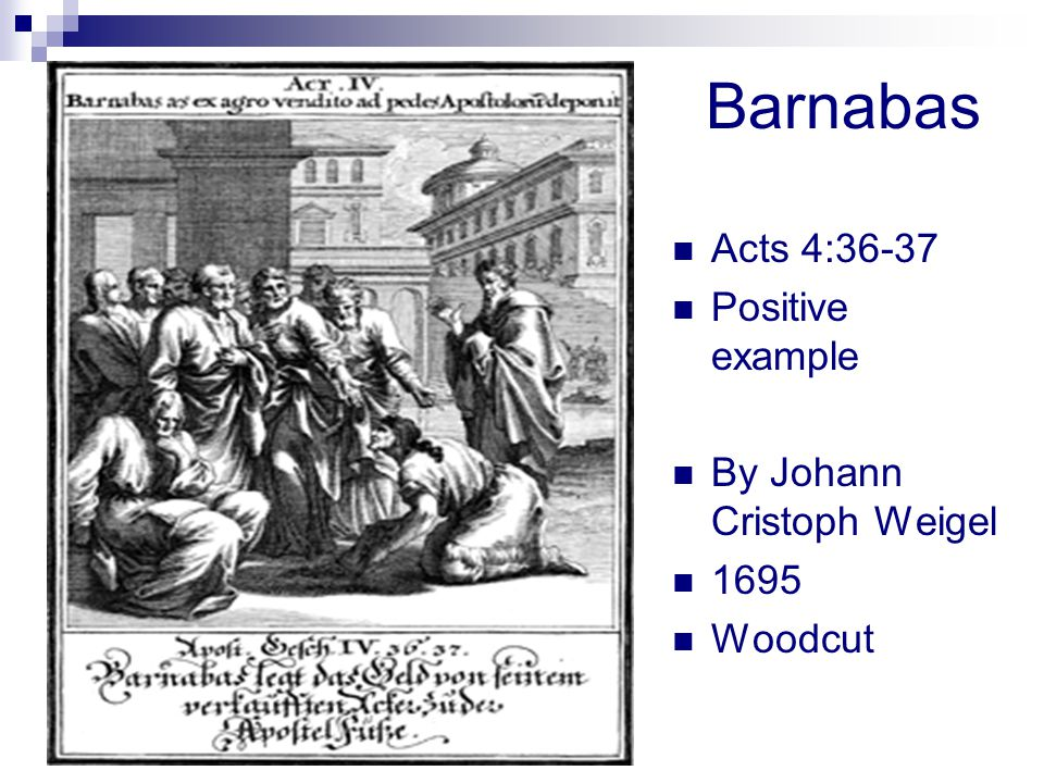 Barnabas Acts 4:36-37 Positive example By Johann Cristoph Weigel 1695 Woodcut
