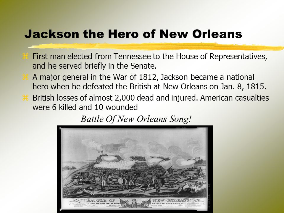 * Had continued Military success in the Seminole War of 1818-1819 which gave him wide name recognition *Election of 1824 - Jackson had 99 electoral votes, Adams 84, Crawford 41, Clay, 37.