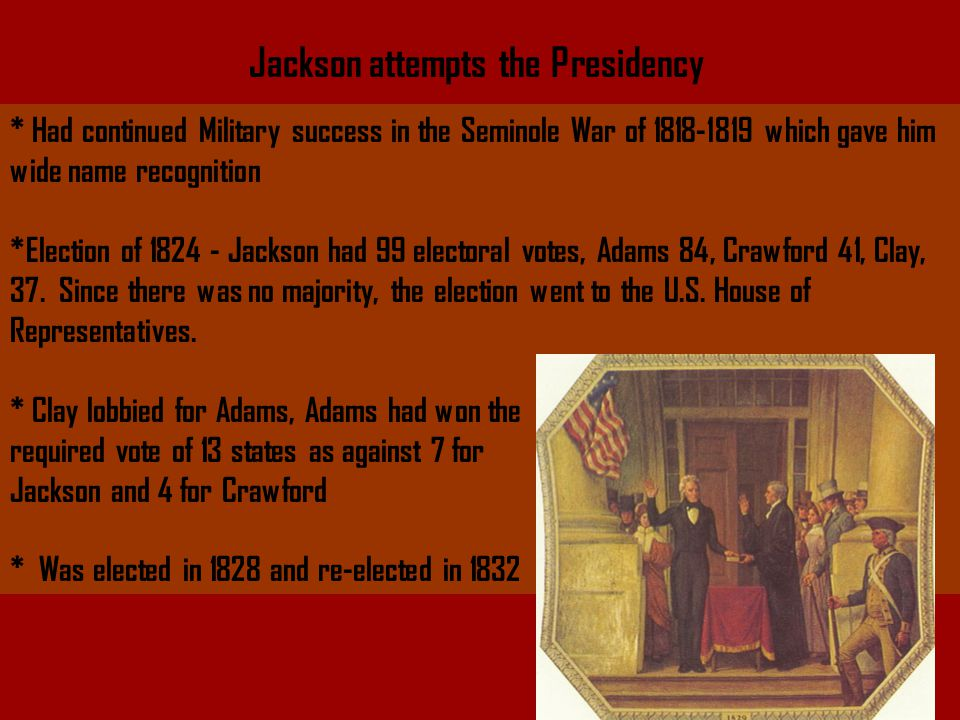 Jackson the President Elected in 1828 by a highly organized Jacksonian party zHis inauguration is famous for the party he thew.