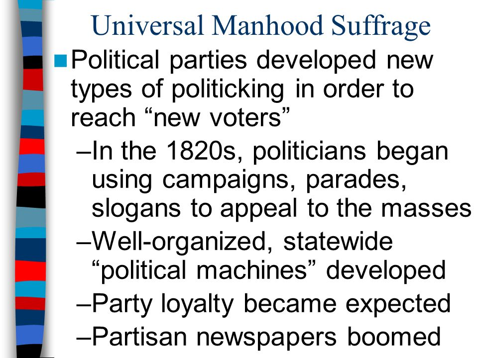 Universal Manhood Suffrage Political parties developed new types of politicking in order to reach new voters –In the 1820s, politicians began using ca