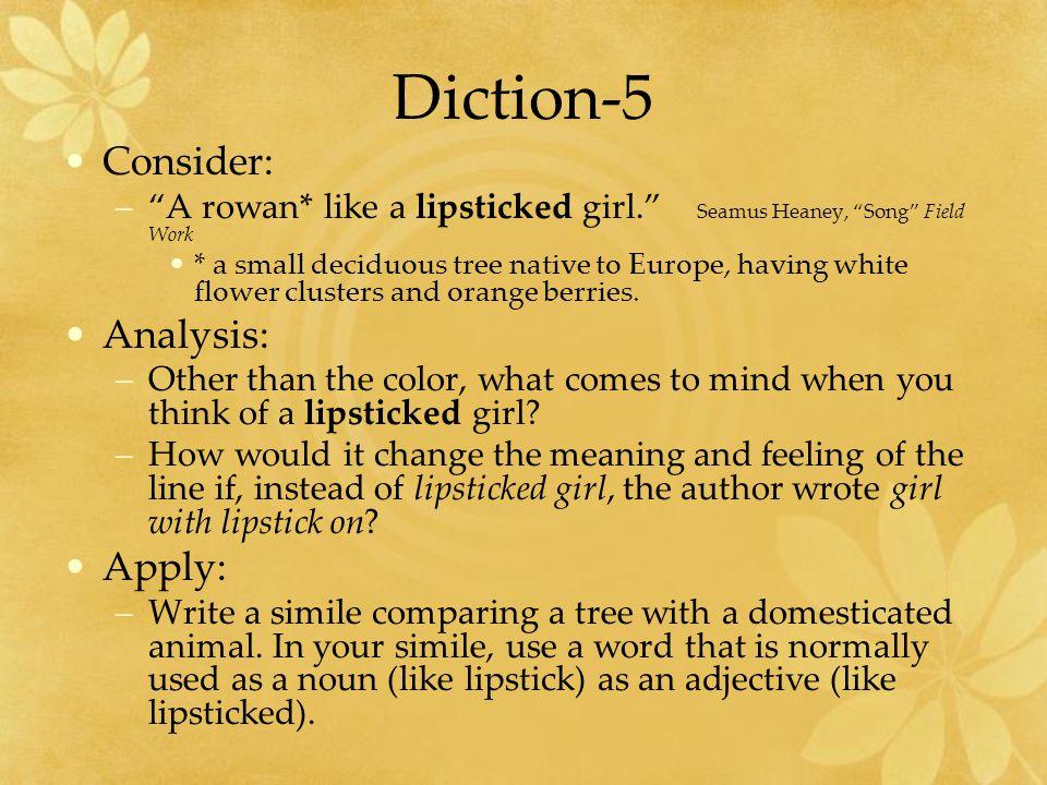 Diction-5 Consider: –A rowan* like a lipsticked girl.