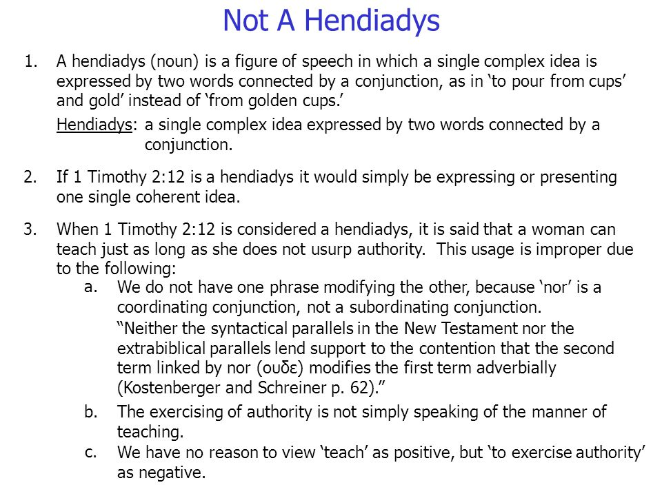 A hendiadys (noun) is a figure of speech in which a single complex idea is expressed by two words connected by a conjunction, as in to pour from cups and gold instead of from golden cups.