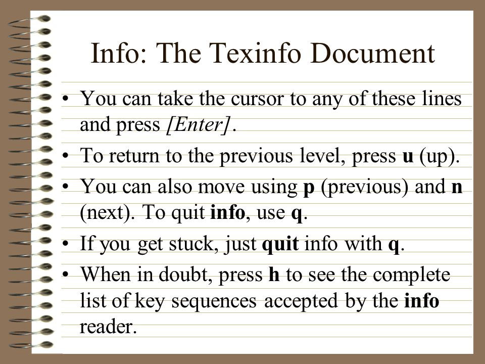 Info: The Texinfo Document You can take the cursor to any of these lines and press [Enter].