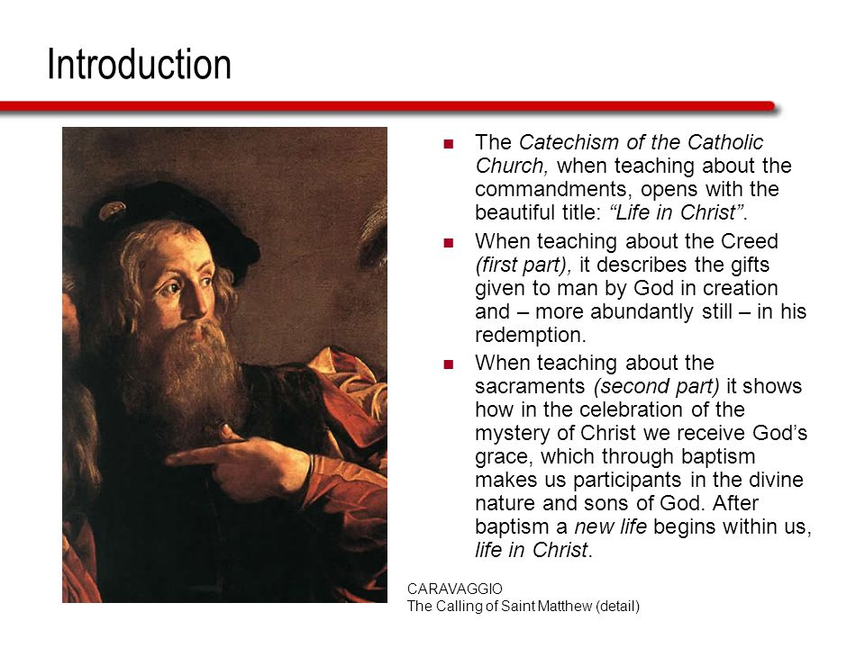 Introduction The Catechism of the Catholic Church, when teaching about the commandments, opens with the beautiful title: Life in Christ.