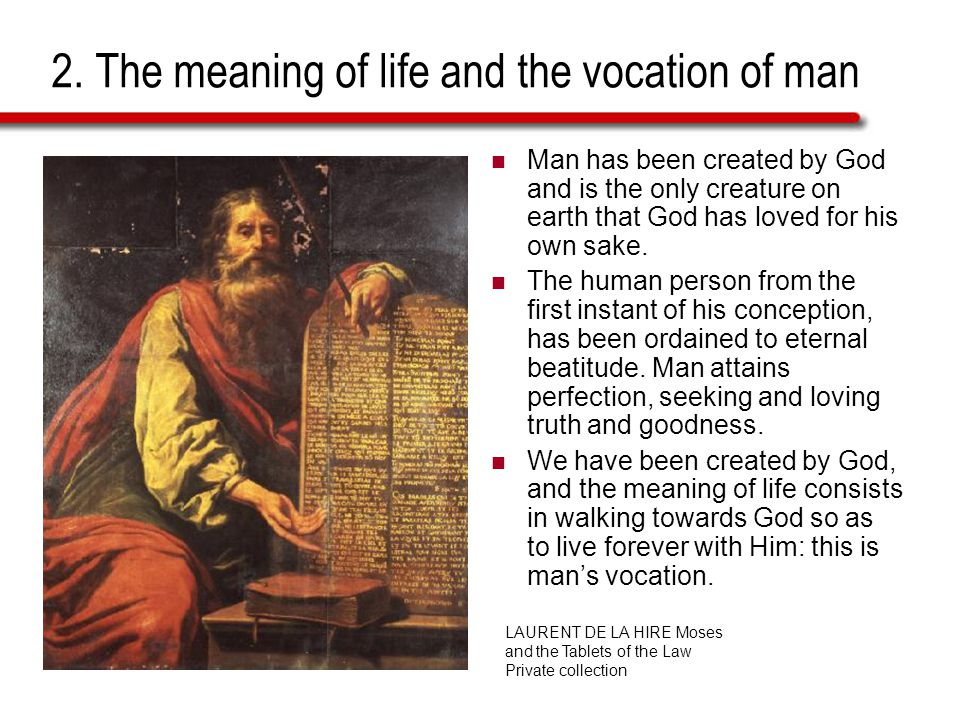 2. The meaning of life and the vocation of man Man has been created by God and is the only creature on earth that God has loved for his own sake. The