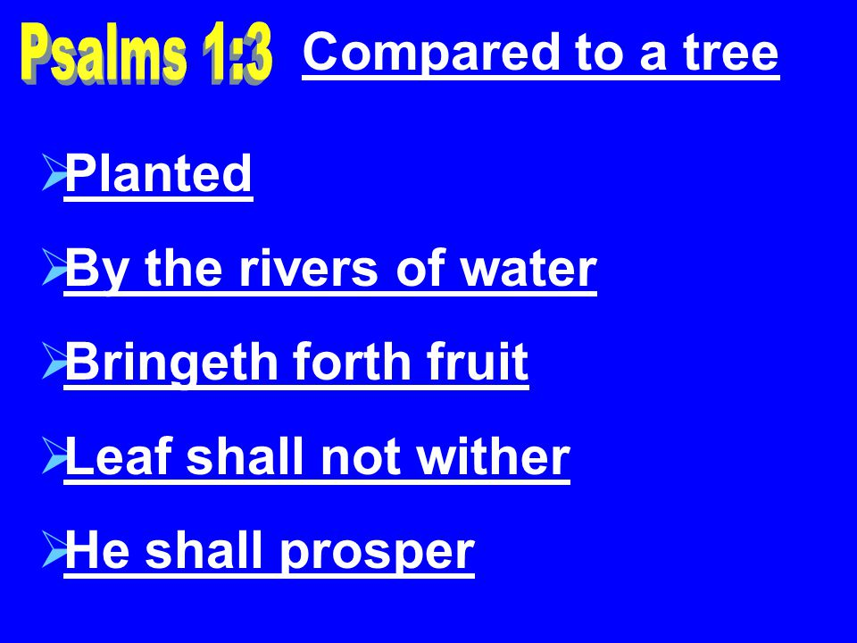 Compared to a tree Planted By the rivers of water Bringeth forth fruit Leaf shall not wither He shall prosper