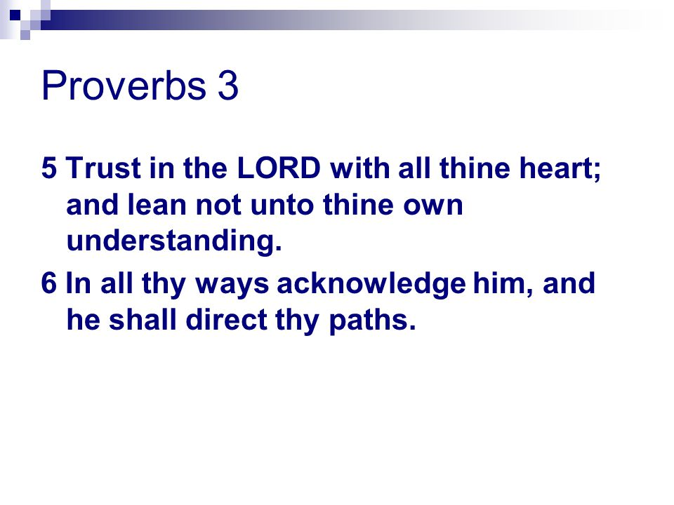 Proverbs 3 5 Trust in the LORD with all thine heart; and lean not unto thine own understanding.