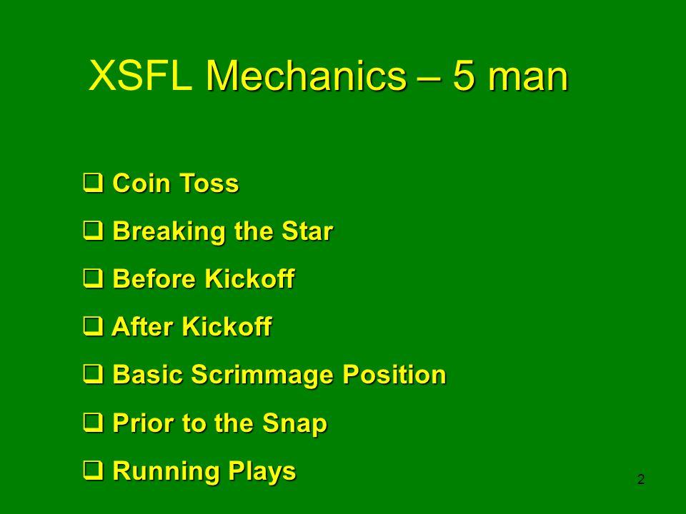 2 Mechanics – 5 man XSFL Mechanics – 5 man Coin Toss Coin Toss Breaking the Star Breaking the Star Before Kickoff Before Kickoff After Kickoff After K
