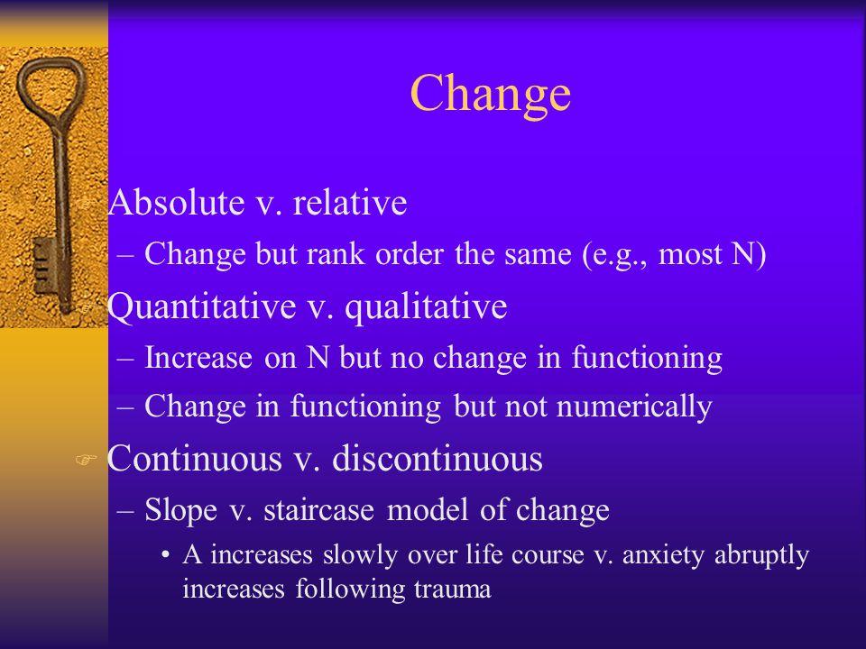 Change F Absolute v. relative –Change but rank order the same (e.g., most N) F Quantitative v.