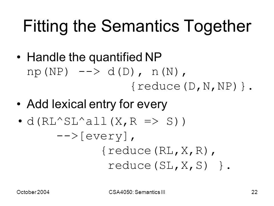 October 2004CSA4050: Semantics III22 Fitting the Semantics Together Handle the quantified NP np(NP) --> d(D), n(N), {reduce(D,N,NP)}.