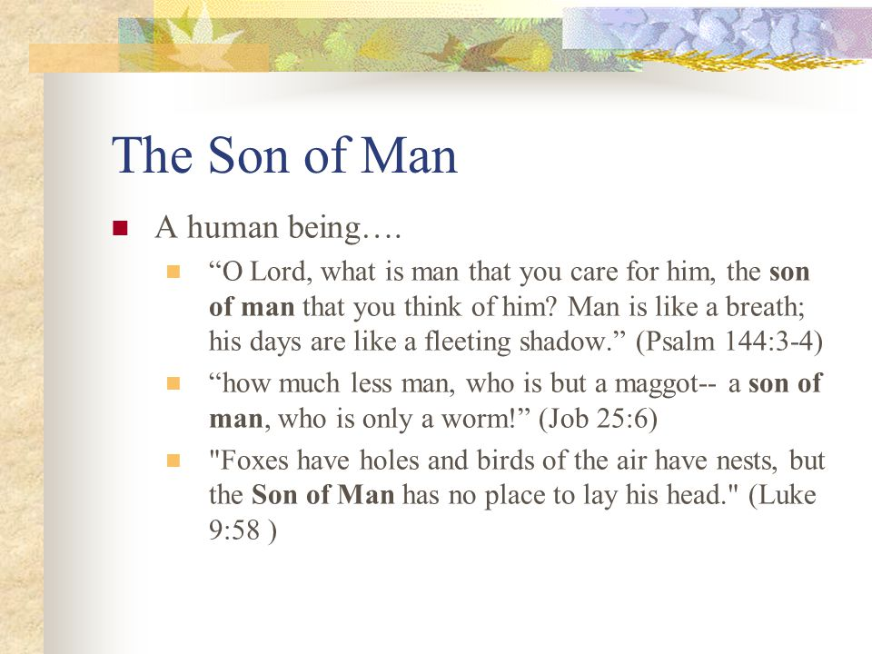 The Son of Man A human being….