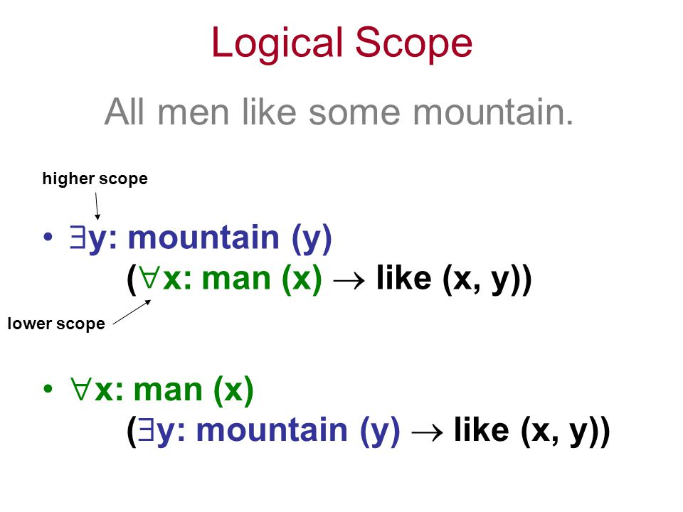 Logical Scope All men like some mountain.