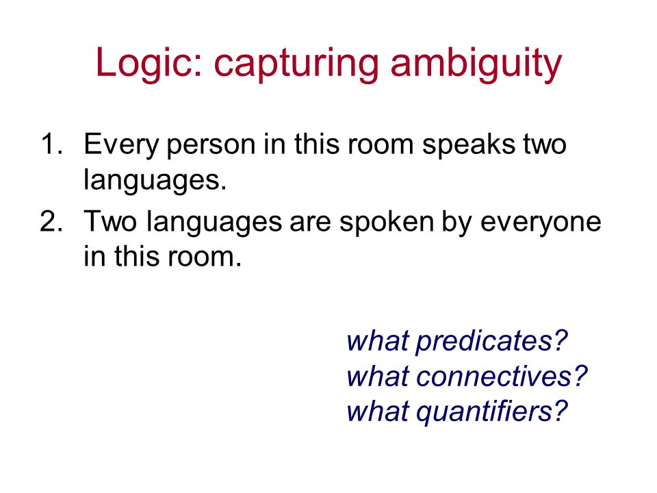 Logic: capturing ambiguity 1.Every person in this room speaks two languages.