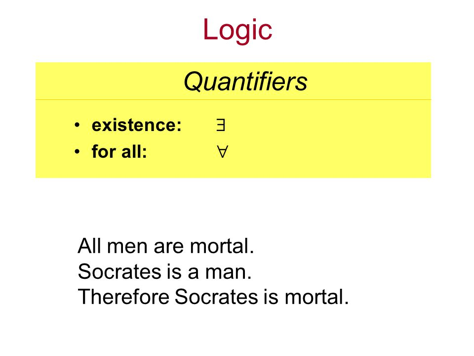Logic existence: for all: Quantifiers All men are mortal.