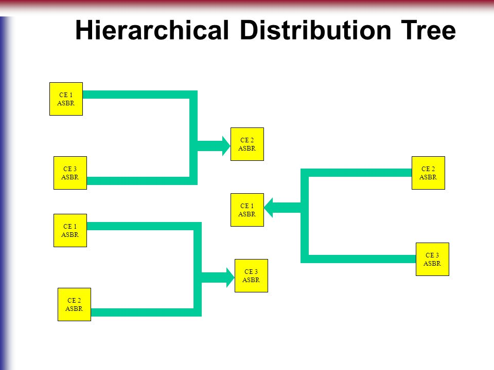 CE 1 ASBR CE 2 ASBR CE 3 ASBR CE 3 ASBR CE 1 ASBR CE 2 ASBR CE 2 ASBR CE 1 ASBR CE 3 ASBR Hierarchical Distribution Tree