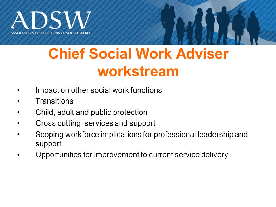Chief Social Work Adviser workstream Impact on other social work functions Transitions Child, adult and public protection Cross cutting services and support Scoping workforce implications for professional leadership and support Opportunities for improvement to current service delivery