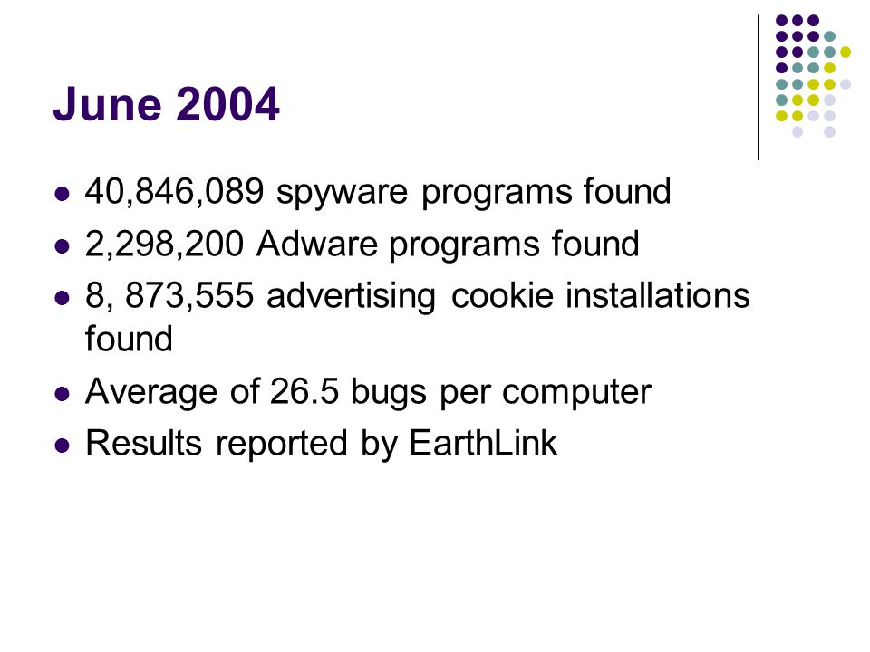 June 2004 40,846,089 spyware programs found 2,298,200 Adware programs found 8, 873,555 advertising cookie installations found Average of 26.5 bugs per computer Results reported by EarthLink