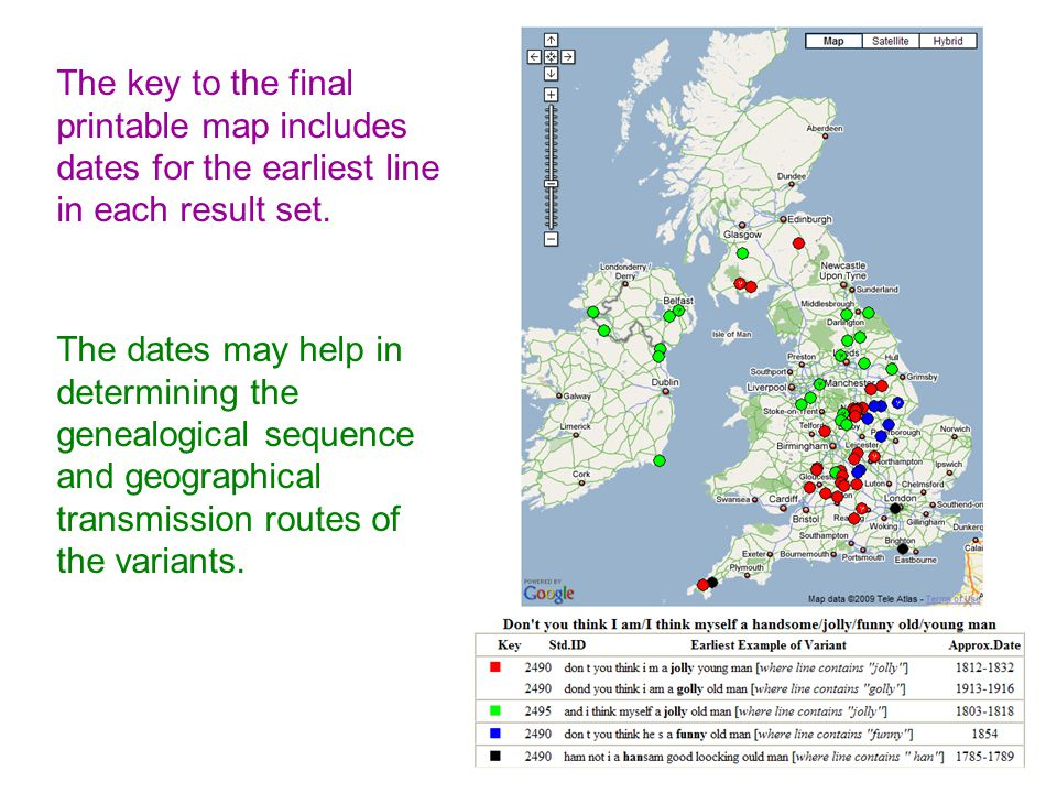 The key to the final printable map includes dates for the earliest line in each result set.