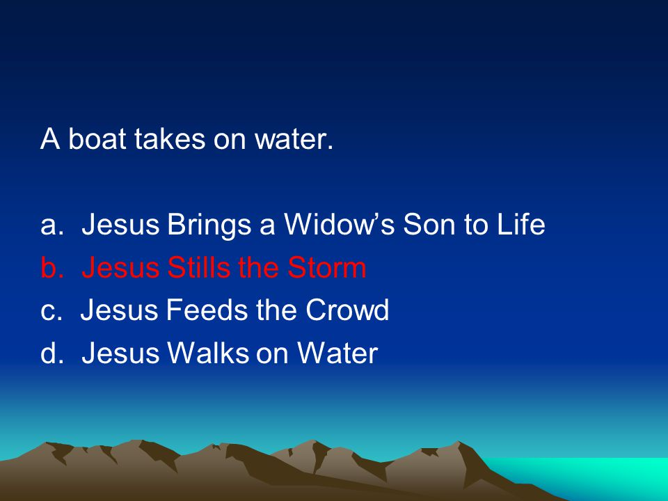 A boat takes on water.a. Jesus Brings a Widows Son to Life b.