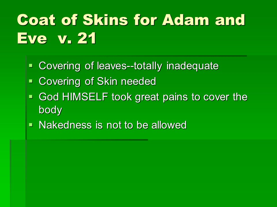 Coat of Skins for Adam and Eve v.