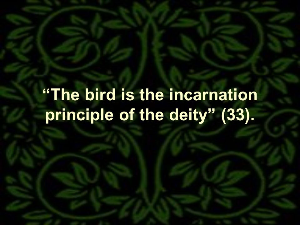 The bird is the incarnation principle of the deity (33).