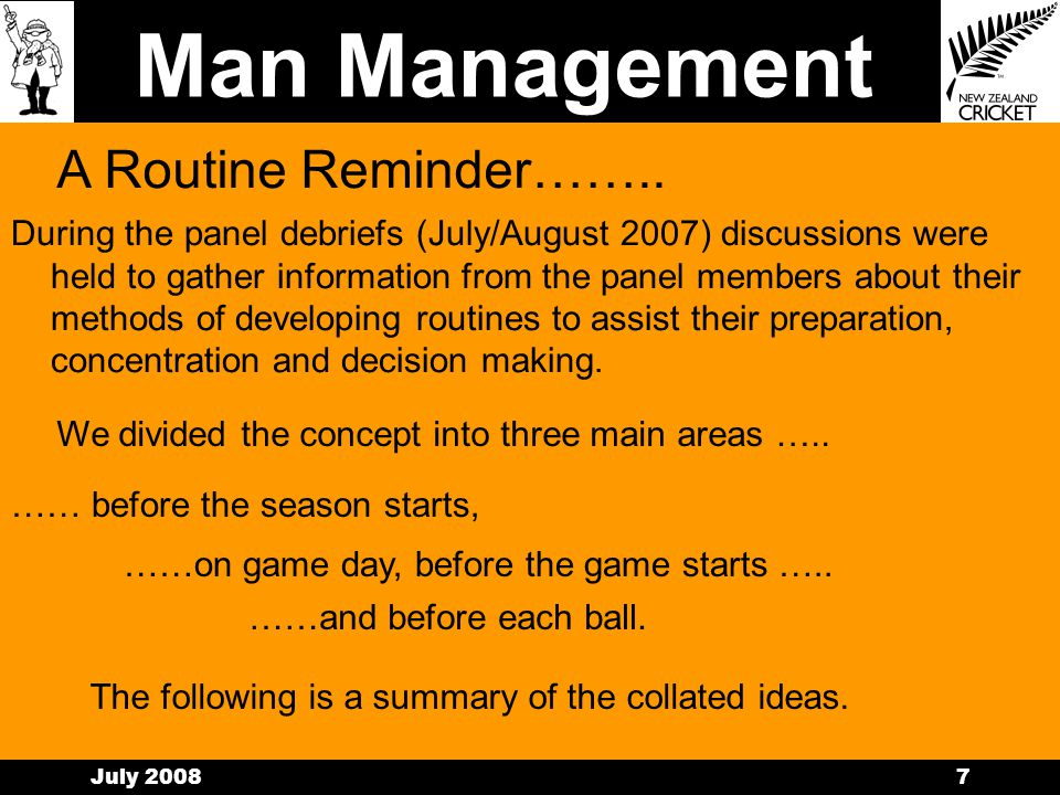 Man Management July 20086 Managing You Routines Family Work Life Health